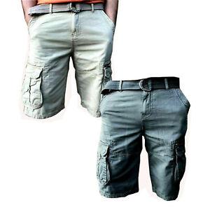 Mens Shorts Cargo Combat Knee Length Summer Pants 6 Pocket Free Belt Plus Size