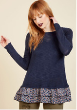 ModCloth Urban Day Navy Blue Ruffle Floral Trim Knit Top Sweater Size XL NWT