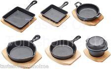 Kitchen Craft Cast Iron Mini Cookware, Frying Pots & Pans & Wooden Serving Board