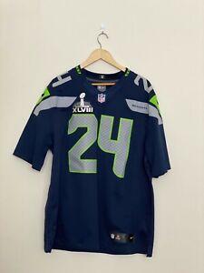 Nike Marshawn Lynch Seattle Seahawks #24 Super Bowl On Field Jersey Size Large