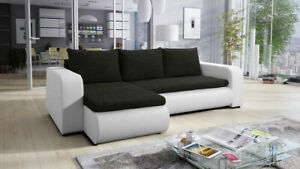 Universal Corner Sofa Bed BROOKLYN with Storage in Black White.