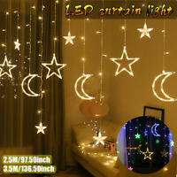 2.5/3.5M LED Moon Star Curtain Lights Fairy String Wall Lights Wedding Xmas
