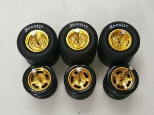 DEEP DISC GOLD HOT WHEELS RUBBER WHEELS TIRES 3 SETS 1/64 SIZE 13/10mm