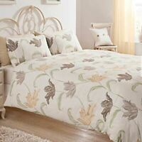 FLORAL BEIGE BROWN CREAM COTTON BLEND KING SIZE DUVET COVER