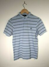 Mens Fred Perry Blue Striped Slim Fit Polo Shirt Size S Small