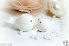 1 Salzstreuer Vogelpaar als Gastgeschenke Keramik weiß, Giveaway Taufe Hochzeit