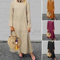 UK Ladies Long Floral Cotton Maxi Dress Muslim Loose A-line Kaftan Islamic 8-26