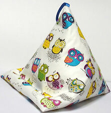 *SALE* COLOURED OWLS resting pillow cushion stand beanbag for iPad Book Tablet
