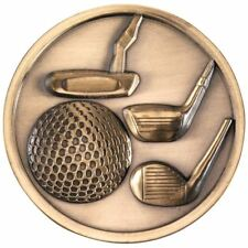 GOLF CLUBS MEDALLION - ANTIQUE GOLD 2.75in PACK OF TEN