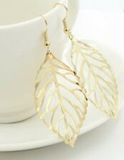 Earring Boho Festival Party Boutique Uk Gold Large Leaf Drop Luxury Fashion