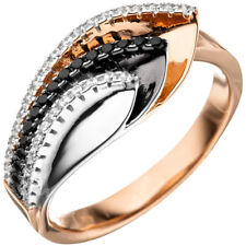 Ring Damenring mit Zirkonia, 925 Silber rhodiniert vergoldet tricolor dreifarbig