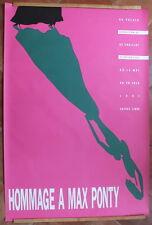 grande affiche ancienne hommage à Max Ponty 1991 rose Graficaza 172,4 x 115,4 cm