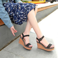 Womens Open Toe Slingbacks Wedge High Heels Casual Sandals Ankle Strap Shoes