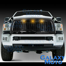 Gloss Black Replacement Mesh Grille+Shell+Amber LED for 10-18 Dodge RAM 2500+350