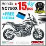 15 kit ADESIVI Argento Nero compatibile con Honda NC 750 X 2011 2015 NC750 moto