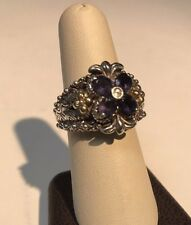 Barbara Bixby Sterling Silver iolite 18K Gold Flower Ring Size 8