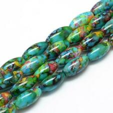 10 Speckled Glass Beads 22mm Assorted Lot Oval Jewelry Supplies Rainbow