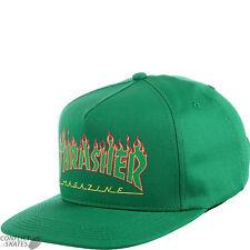 """THRASHER MAGAZINE """"Flame Logo"""" Structured Snapback Cap Skateboard GREEN OSFA"""
