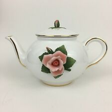 Telefloral White Tea Pot Gold Trim Pink Rose Raised Kettle Rosebud Lid Decor