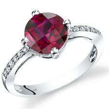14K White Gold Created Ruby Solitaire Diamond Ring 2.5 Carats Size 7