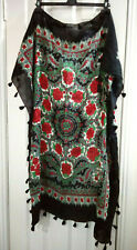 Pepe Jeans Scarf Square Tassel Black Red Roses Gypsy Large
