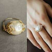 Nature Genuine Baroque Pearl 13-14mm Pearl 14K Gold Ring