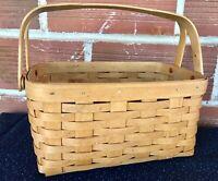 Longaberger 2006 Basket Lunch Box Dual Swing Wood Handles
