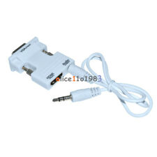 White HDMI Female to VGA Male Converter+Audio Cable Support 1080P Signal Output