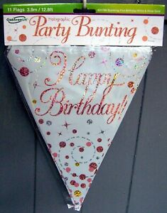 """Holographic """"Happy Birthday"""" Party Bunting - White & Rose Gold - 3.9m/12.8ft"""