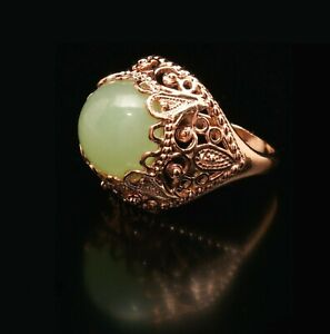 Icy Greed Jade 14k Rose Gold Filled Ring  8P Ornate High Bezel  Russian