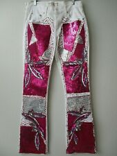 LEVI'S STRAUSS WHITE & PINK & MULTI EMBELLISHED JEANS SIZE 8 LONG - NEW