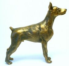 PEWTER HAND MADE MINIATURE DOBERMAN PINSCHER DOG IN BRONZE COLOUR STATUETTE