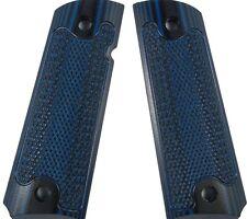 Classic Checkered Custom 1911 Grips G10 Magwell Ambi Bobtail Colt - Blu-Black