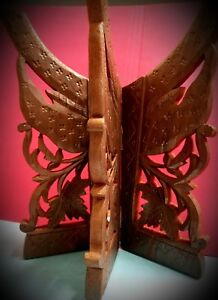 Vintage PAIR Butterfly Hand Carved Wood folding BOOK ENDS Decor from Thailand