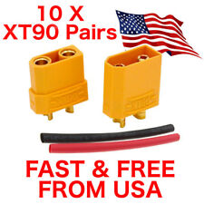 10 pairs XT90 Battery Connector RC Lipo Battery Motor Yellow w Heat Shrink