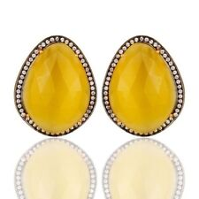 Yellow Moonstone CZ 18K Gold Plated 925 Sterling Silver Stud Earrings