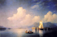 Oil painting Ivan Constantinovich Aivazovsky - Lake Maggiore in the Evening 36""