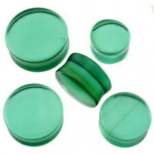 "1 Pair GIANT 3/4"" 19mm Organic Emerald Green Glass Saddle Plugs Ear Double Flare"