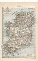 c. 1890 IRELAND Antique Map