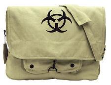 Khaki Vintage Canvas 'Bio-Hazard' Military Style Paratrooper Shoulder Bag