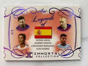 2018 Leaf Immortal Collection Legends 4/5 Messi Cristiano Ronaldo Suarez Iniesta