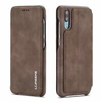 Wallet Case For Huawei P30 Pro Vintage Slim PU Leather Flip Stand Cover Brown