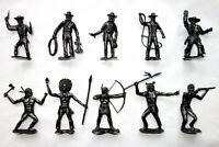 Cowboys & Indians Plastic Toys Soldiers 12 Figures 54mm Ogonek New