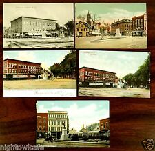 5 Postcards Central Square Rochester NH Salinger's & Evans Stores Trolley 1905