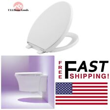 White Elongated Closed Front Toilet Seat W/ Grip-Tight Bumper Quiet-Close Lid