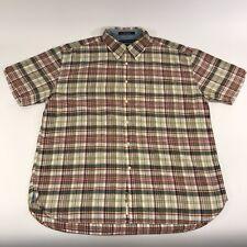 Men's Tommy Hilfiger Blue Yellow Red Green Plaid Checks XXL Cotton Linen Shirt