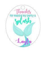 15 Personalized Custom Birthday Party Favor Tags. Mermaid fin, tail, Splash!