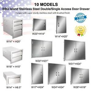 Stainless Steel BBQ Double Single Door Drawer Access Outdoor Kitchen 14''-31''