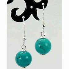 10mm blue Turquoise Round Bead Silver Earrings JE218