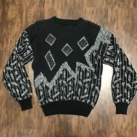 Vintage 90s Barnaby Men's Black & White Coogi Biggie Cosby Style Sweater M